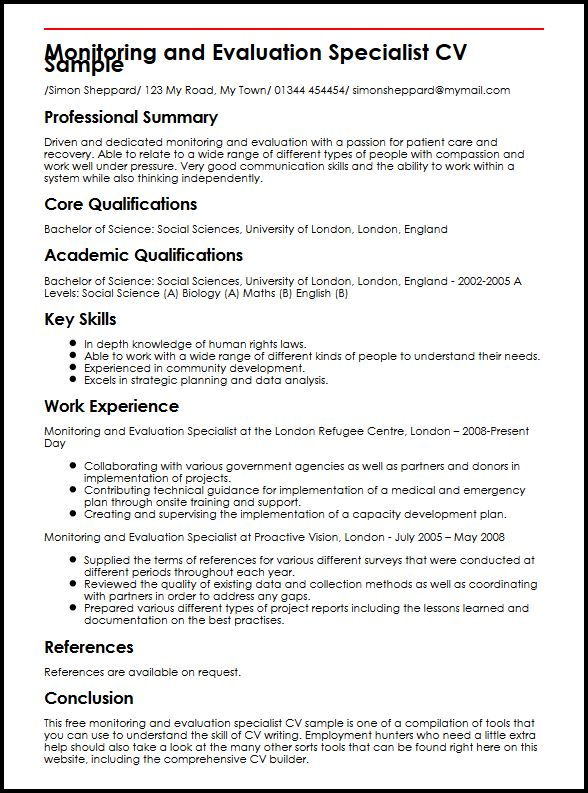 Monitoring and Evaluation Specialist CV Sample MyperfectCV