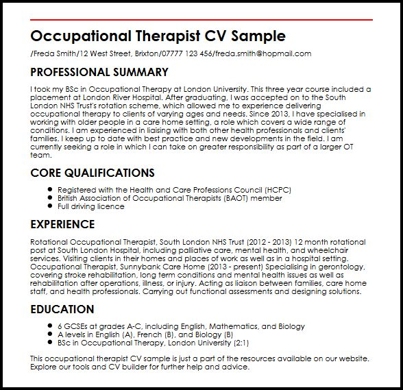 Occupational Therapist CV SampleMyperfectCV