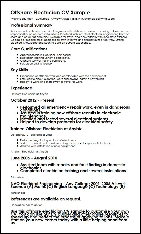 Offshore Electrician CV Sample MyperfectCV - oil rig chef sample resume