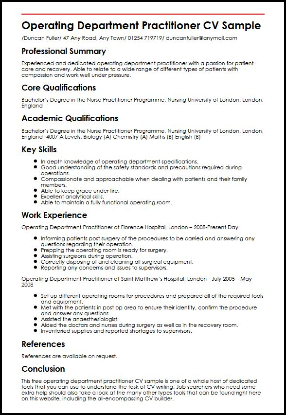 Operating Department Practitioner CV Sample MyperfectCV