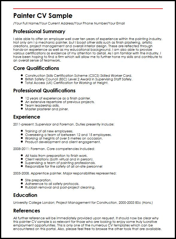 painter resume sample - Goalgoodwinmetals - Painter Resume