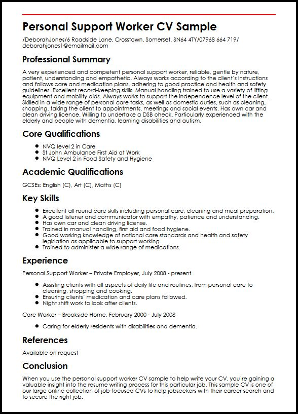 Personal Support Worker CV Sample MyperfectCV - Care Support Worker Sample Resume