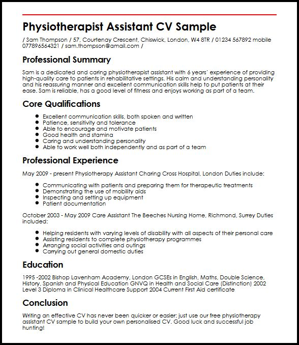physiotherapy assistant resume example - Yelommyphonecompany - Physical Therapy Assistant Resume
