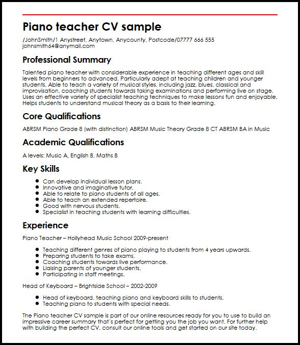 piano teacher resume sample - Kordurmoorddiner