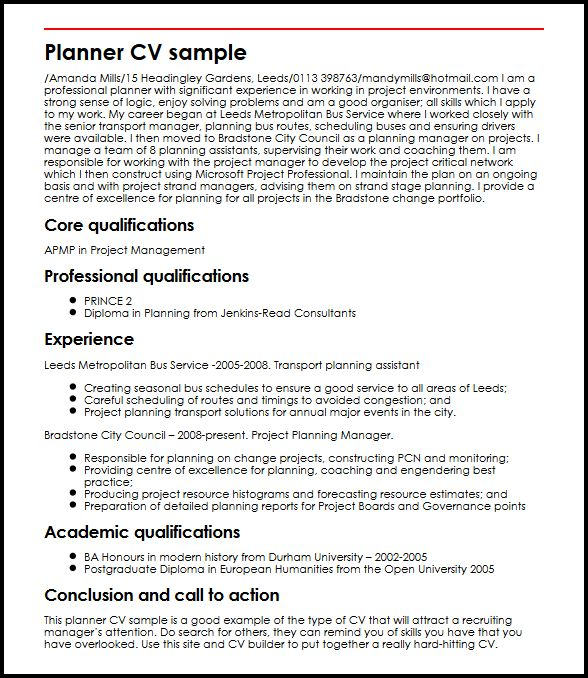 Planner CV sample MyperfectCV