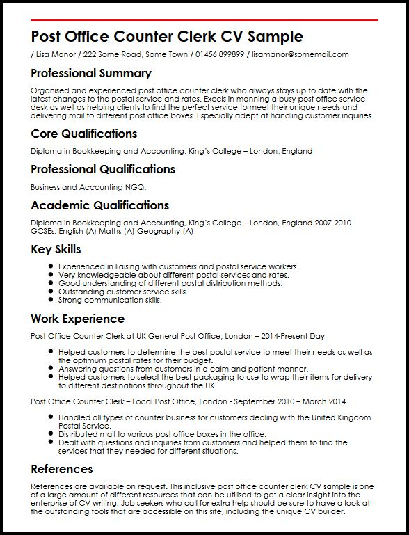 Post Office Counter Clerk CV Sample MyperfectCV - clerk resume samples