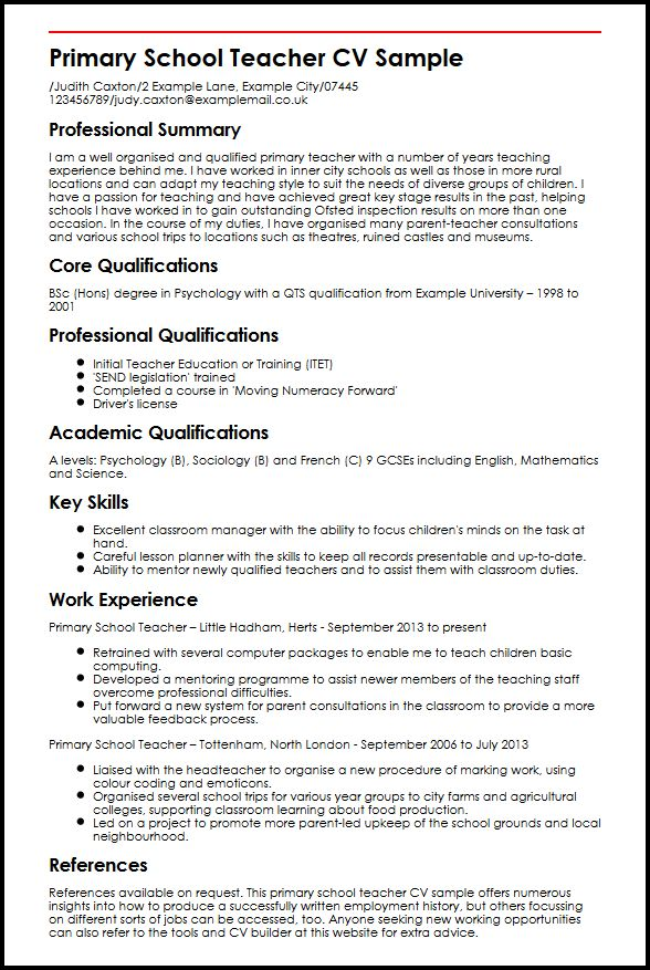 Primary School Teacher CV Sample MyperfectCV