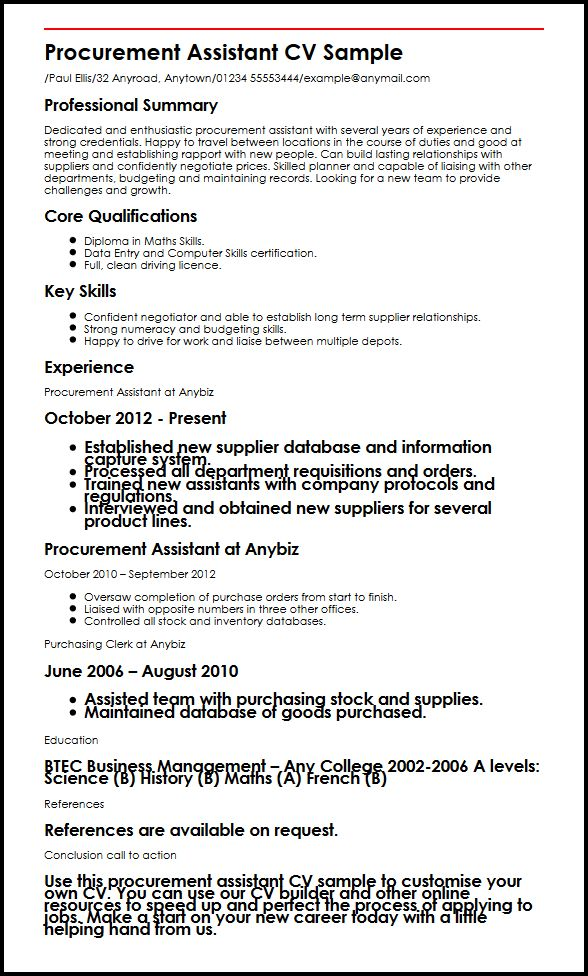 Procurement Assistant CV Sample MyperfectCV - purchasing assistant resume