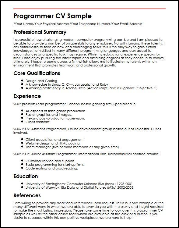 programmer resume sample - Ozilalmanoof