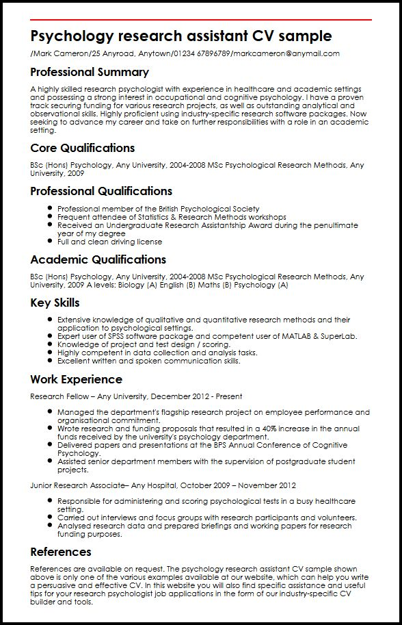 Psychology research assistant CV sample MyperfectCV