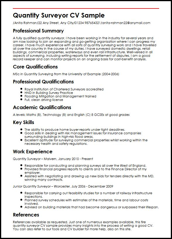 Quantity Surveyor CV Sample MyperfectCV - cv examples for undergraduates