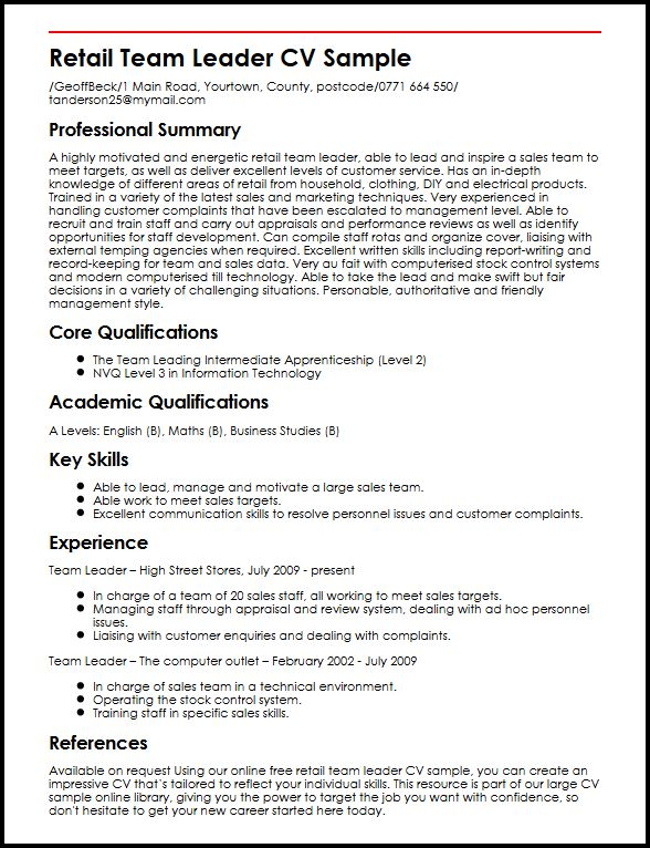 team leader skills resume - Doritmercatodos - sample resume team leader