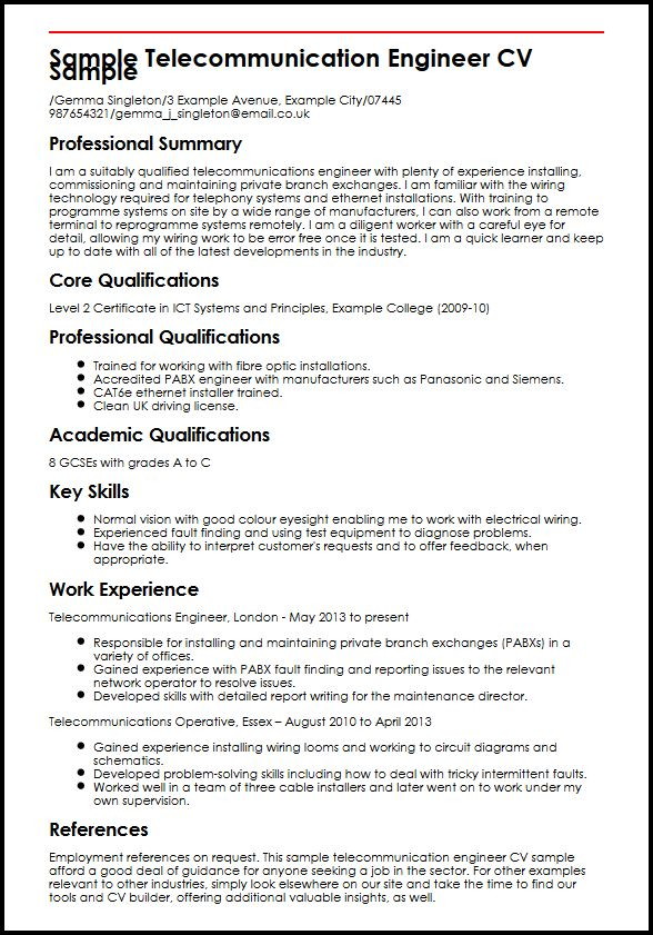 Sample Telecommunication Engineer CV Sample MyperfectCV