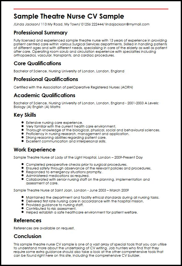 Sample Theatre Nurse CV Sample MyperfectCV - perioperative nurse sample resume