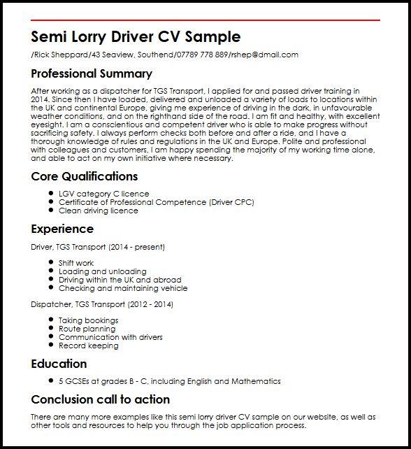 Semi Lorry Driver CV Sample MyperfectCV