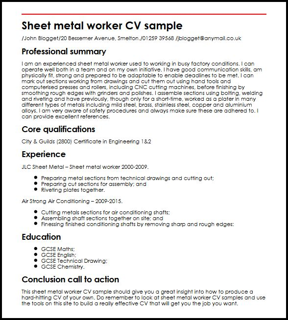 Sheet metal worker CV sample MyperfectCV - sheet metal worker sample resume