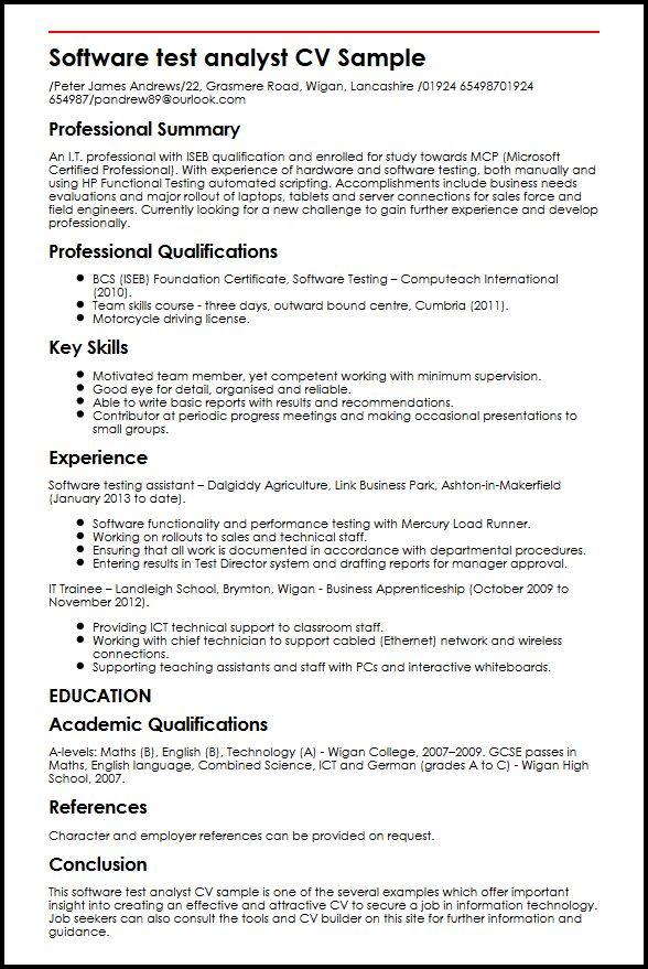 Software test analyst CV Sample MyperfectCV - software support analyst sample resume