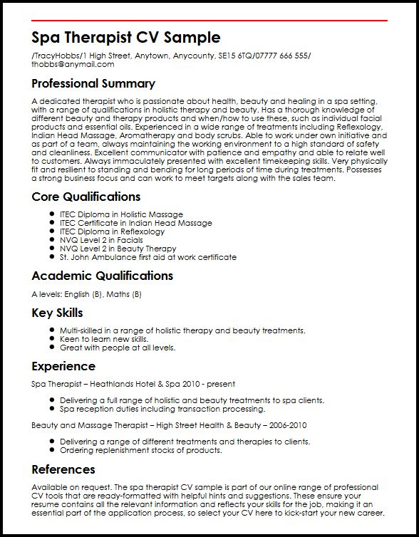 Spa Therapist CV Sample MyperfectCV - resume career overview example