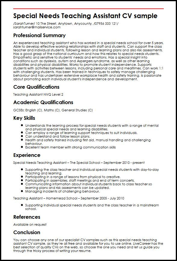 Special Needs Teaching Assistant CV sample MyperfectCV - inclusion assistant sample resume