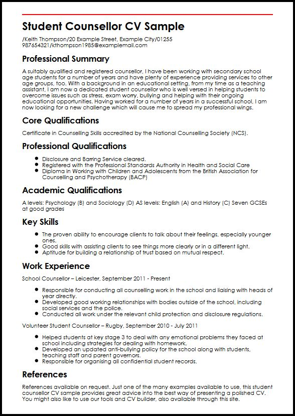 Student Counsellor CV Sample MyperfectCV - resume samples for student