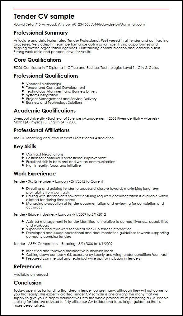 Tender CV sample MyperfectCV
