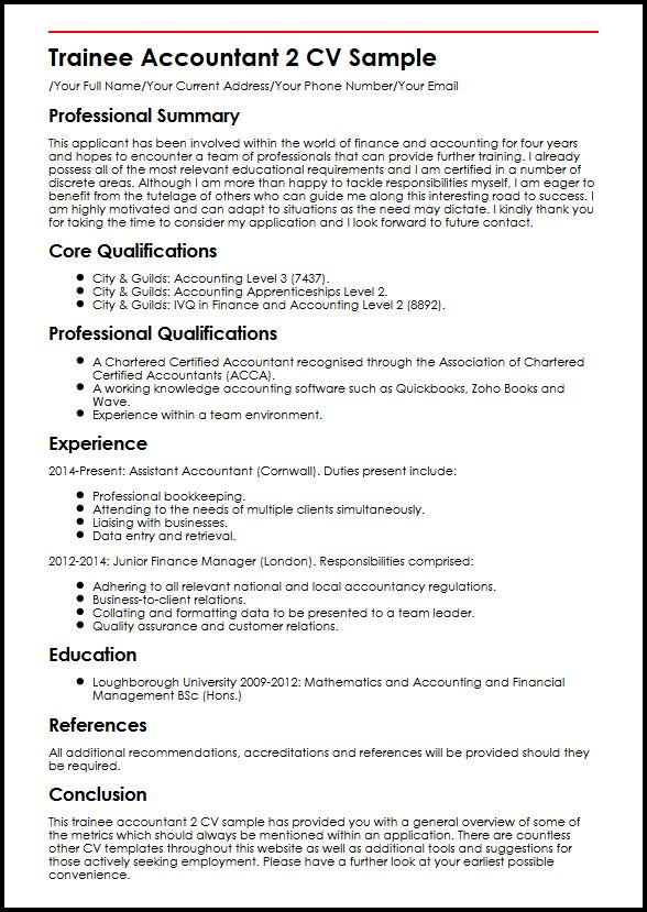 Trainee Accountant 2 CV Sample MyperfectCV - Resume For Accountant Sample