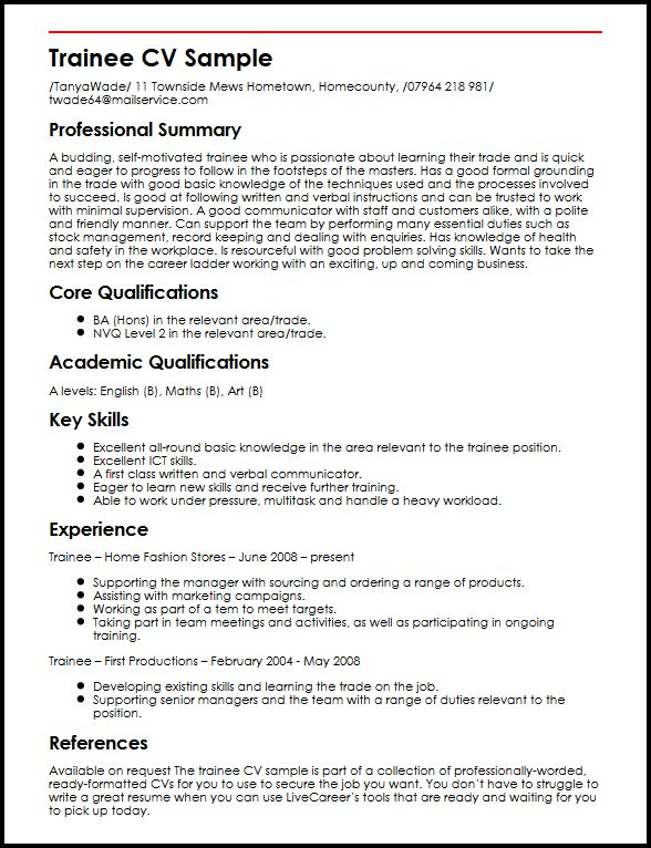 Trainee CV Sample MyperfectCV - Summary Of Skills Resume Sample