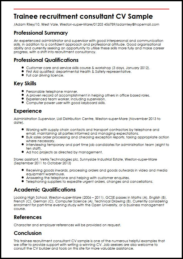 Trainee recruitment consultant CV Sample MyperfectCV - Winning Resume Sample