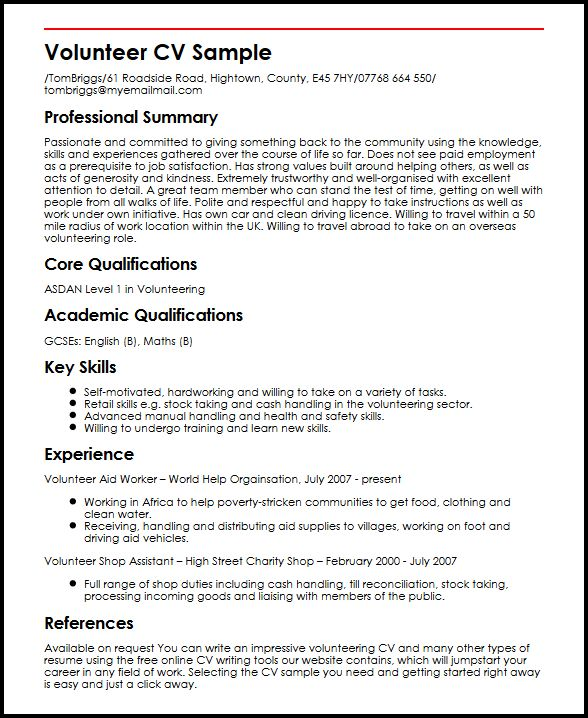Volunteer CV Sample MyperfectCV - Resume To Cv