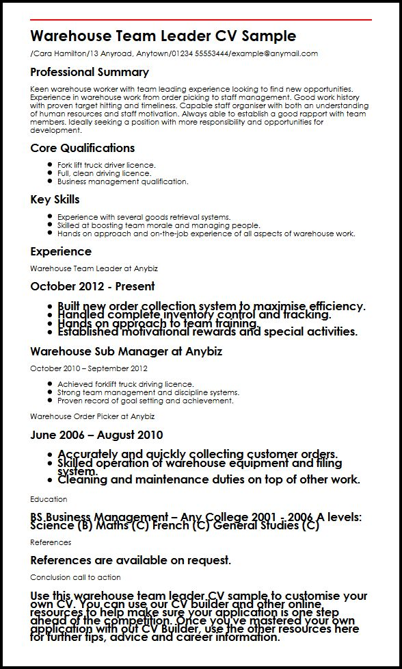 warehouse cv - Onwebioinnovate - examples of warehouse resume
