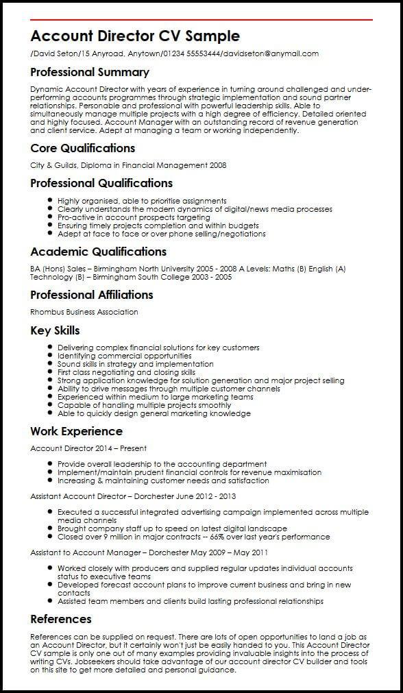 Account Director CV sample MyperfectCV