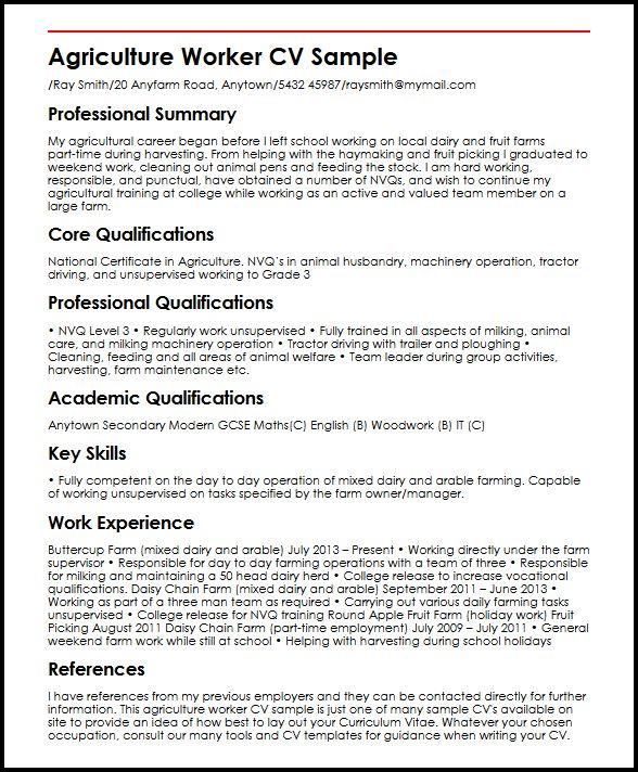 Agriculture Worker CV Sample MyperfectCV