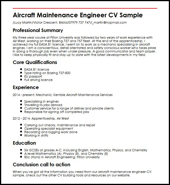 Aircraft Maintenance Engineer CV Sample MyperfectCV - bicycle repair sample resume