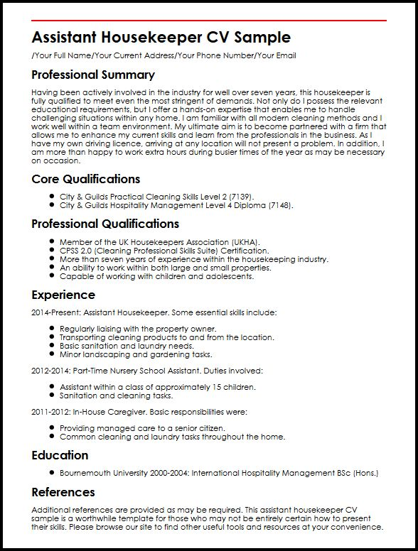 Assistant Housekeeper CV Sample MyperfectCV - resume examples for housekeeping
