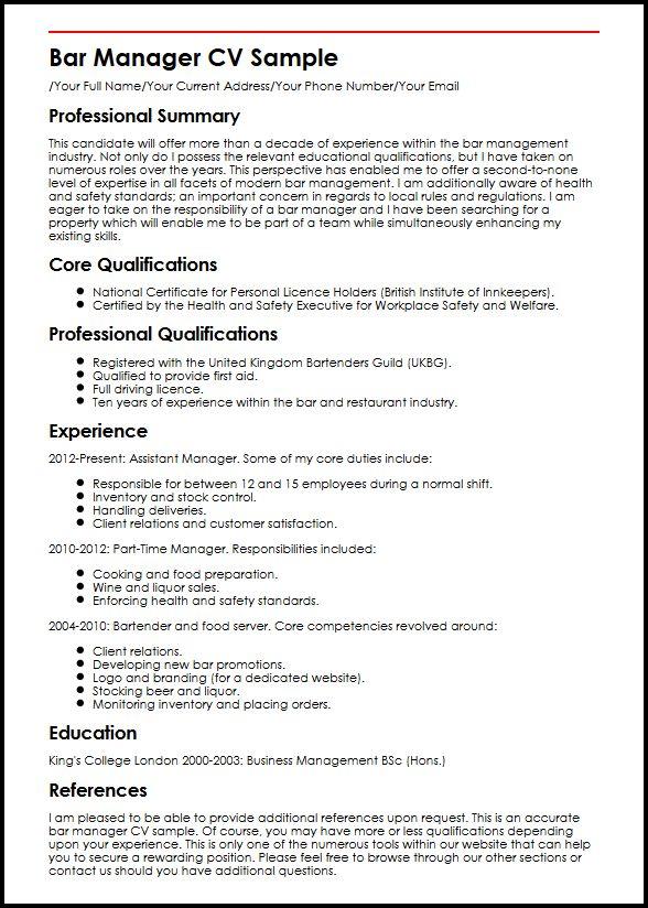 Bar Manager CV Sample MyperfectCV - assistant manager resume format