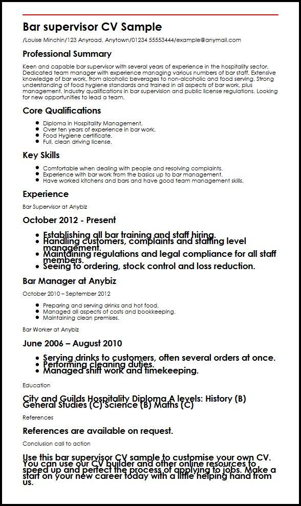 Bar Supervisor CV Sample MyperfectCV - rig electrician resume
