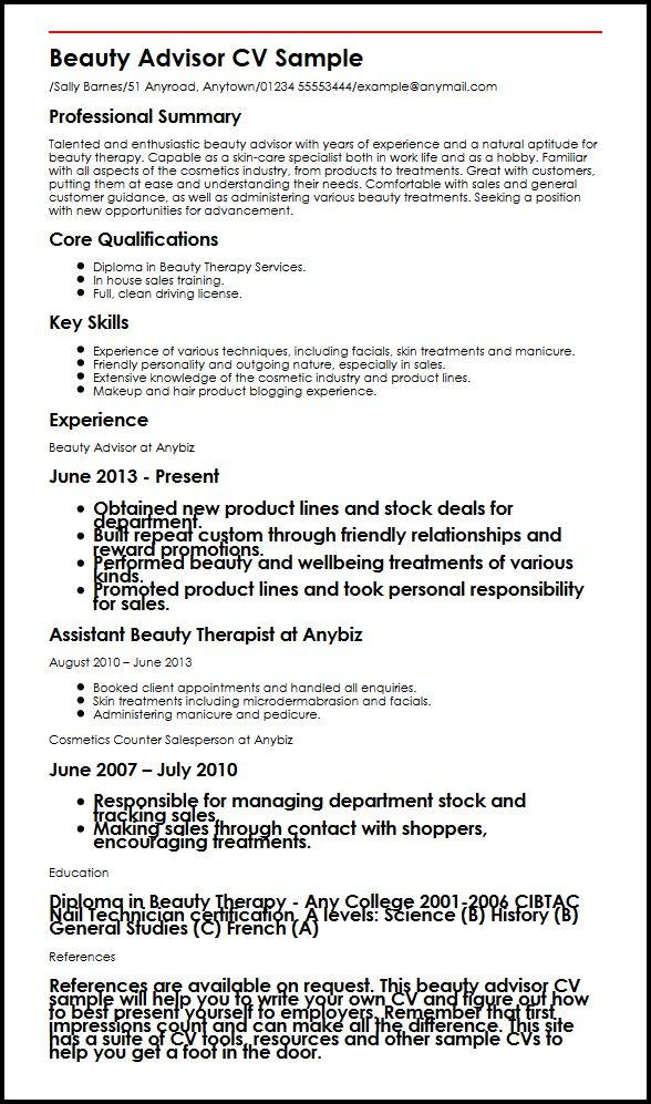 Beauty Advisor CV Sample MyperfectCV
