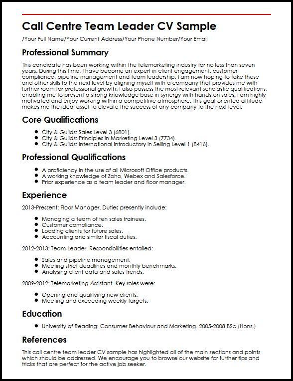 Call Centre Team Leader CV Sample MyperfectCV - team leader resume sample