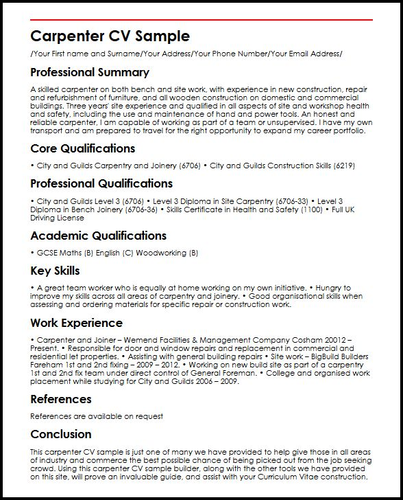 Carpenter CV Sample MyperfectCV - Curriculum Vitae Example