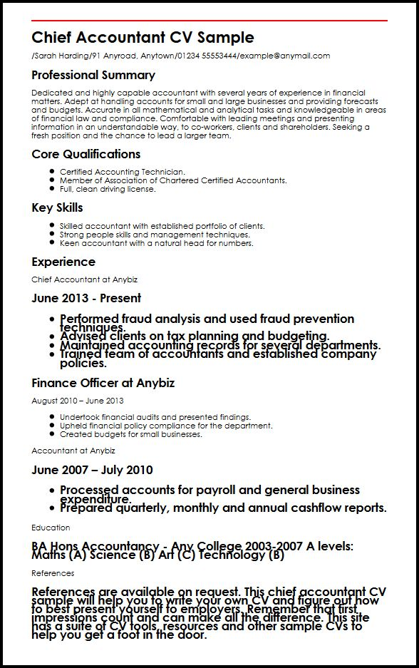 Chief Accountant CV Sample MyperfectCV