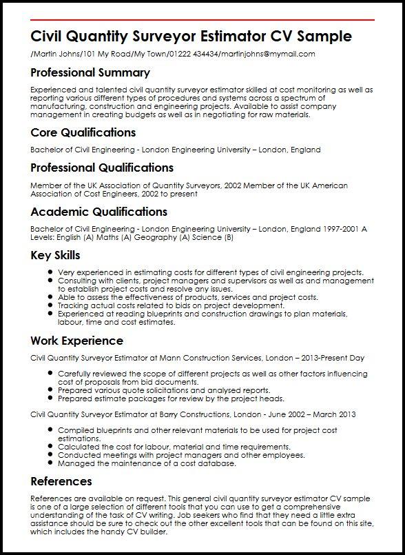 Civil Quantity Surveyor Estimator CV Sample MyperfectCV - clinical consultant sample resume