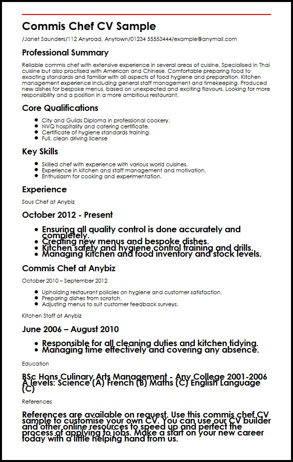 Commis Chef CV Sample MyperfectCV - sous chef resume template