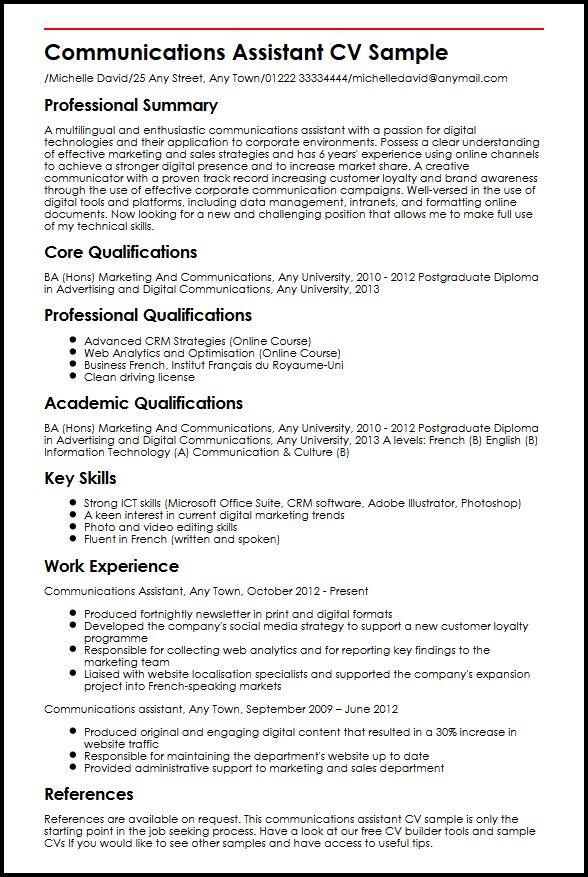 Communications Assistant CV Sample MyperfectCV