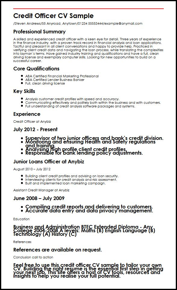 Credit Officer CV Sample MyperfectCV