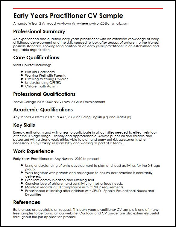 Early Years Practitioner CV Sample MyperfectCV - Nursery Assistant Sample Resume