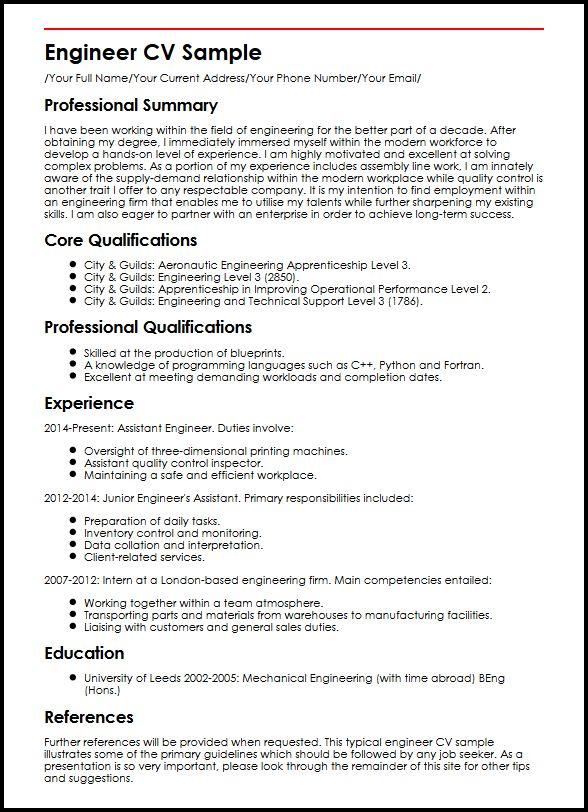 Free Sample Cv For Quantity Surveyor Operator Cv Sample Myperfectcv Engineer Cv Sample Myperfectcv
