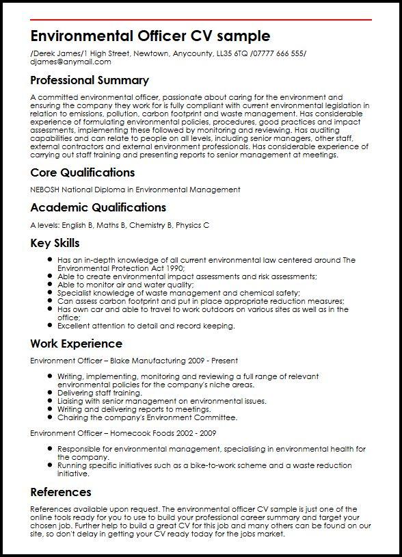 Environmental Officer CV sample MyperfectCV - summary section of resume example