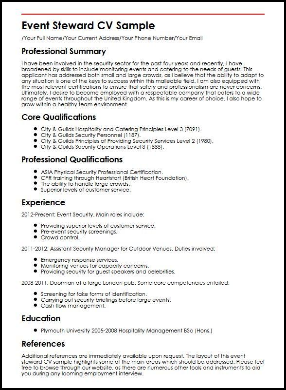 Event Steward CV Sample MyperfectCV - cpr trainer sample resume