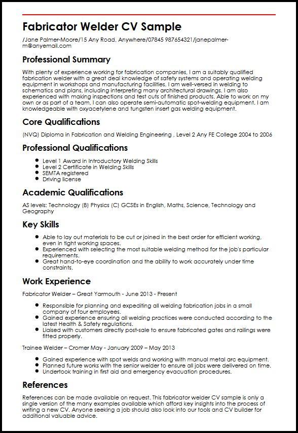 Fabricator Welder CV Sample MyperfectCV