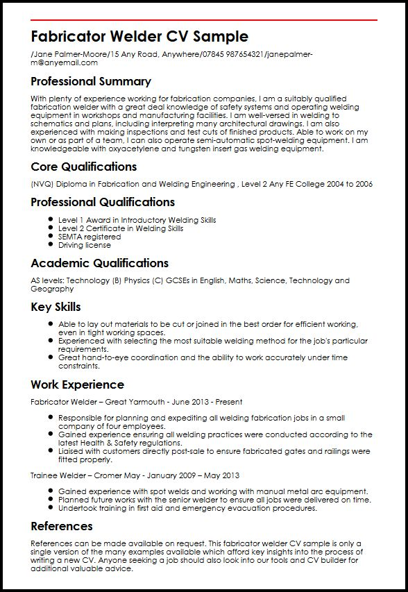 welder resume objective